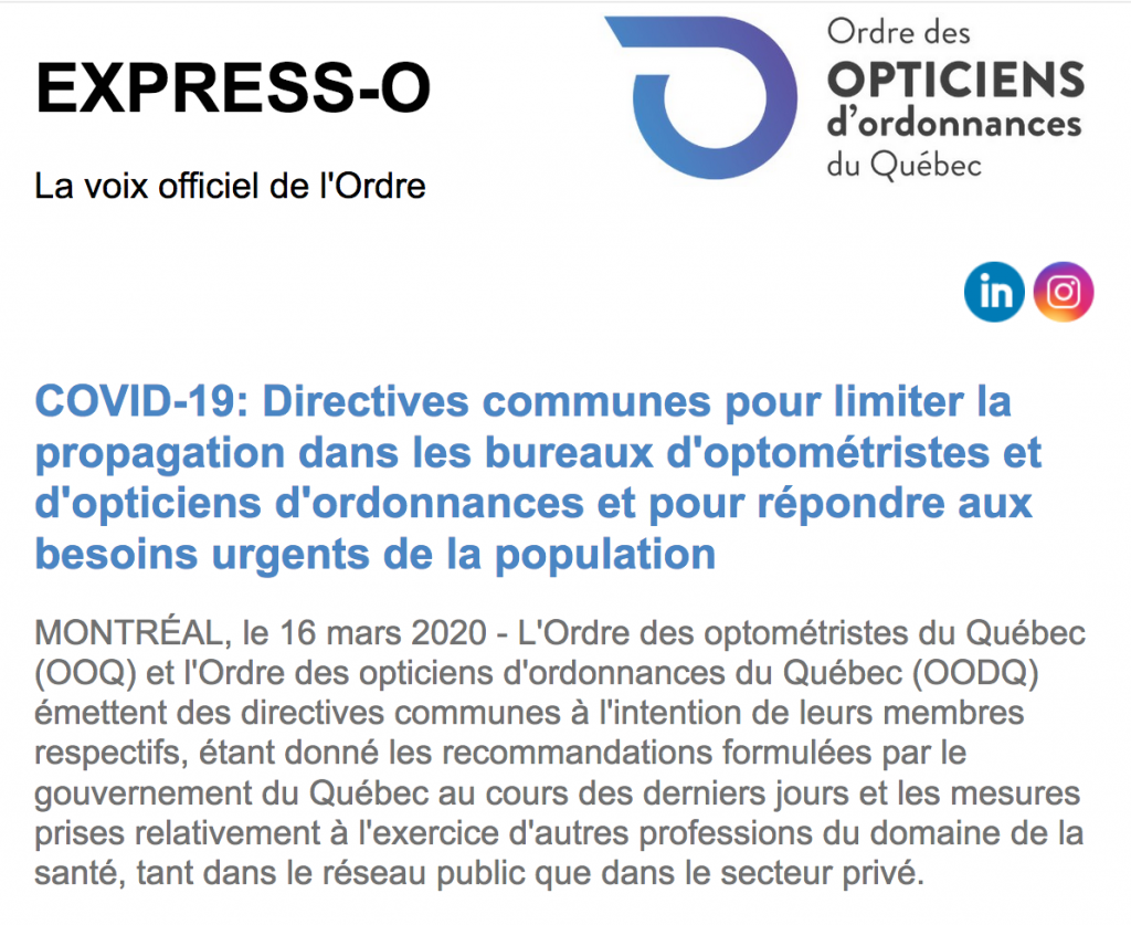 COVID-19 : Directives communes