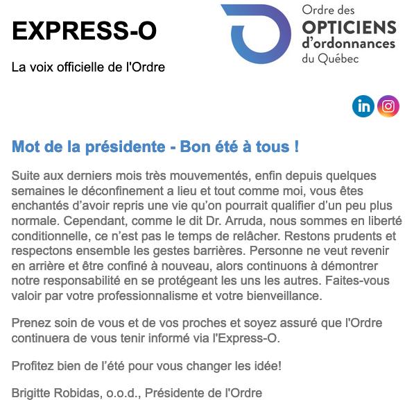 Mot de la présidente - Bon été à tous!