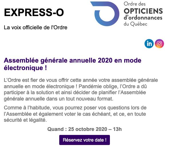 Assemblé générale annuelle 2020 en mode électronique !
