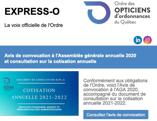 Avis de convocation à l'Assemblée générale annuelle 2020 et consultation sur la cotisation annuelle