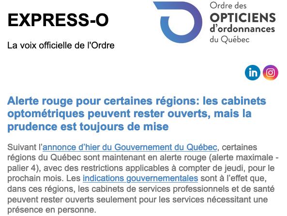 Alerte rouge pour certaines régions: les cabinets optométriques peuvent rester ouverts, mais la prudence est toujours de mise