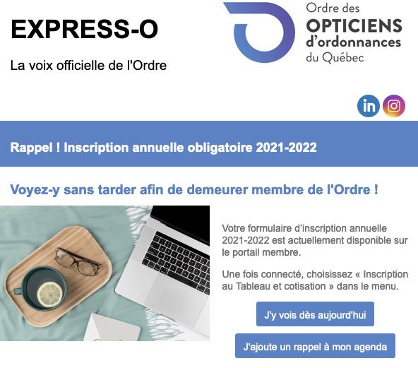 Rappel ! Inscription annuelle obligatoire 2021-2022