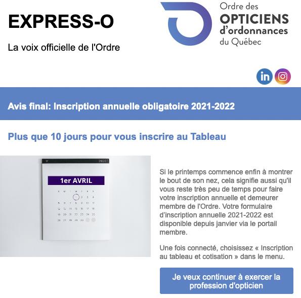 Avis final: inscription annuelle obligaatoire 2021-2022